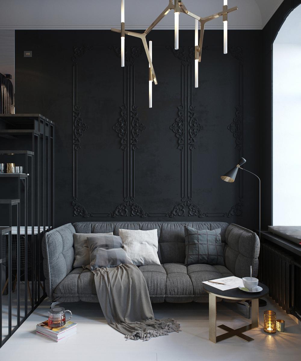 Deco A Tous Les Etages un appartement tout de noir vêtu   madame décore