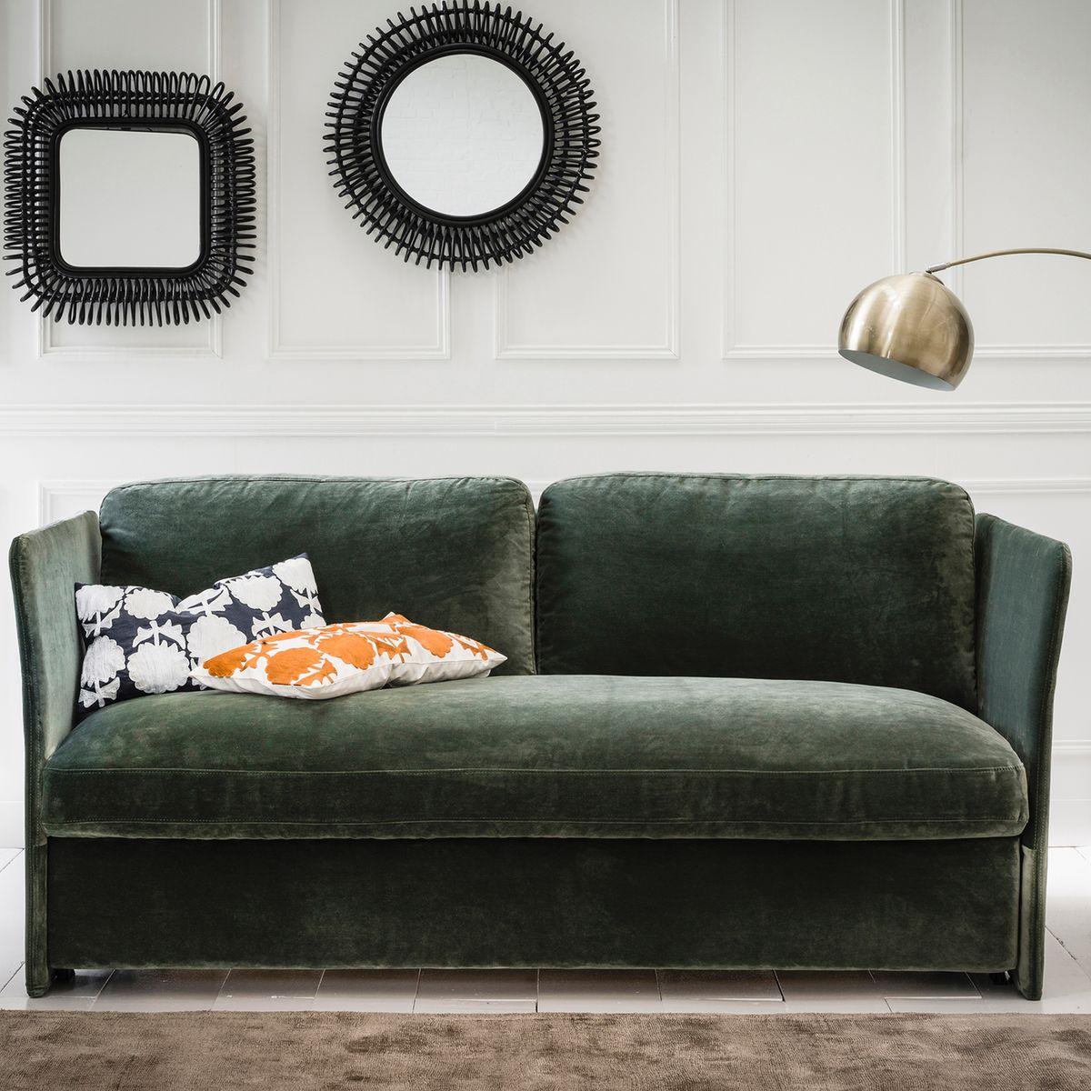 Inspiration je veux un canap vert madame d core - Comment nettoyer un canape en velours ...