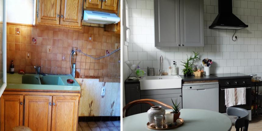 avant apr s notre cuisine black white madame d core. Black Bedroom Furniture Sets. Home Design Ideas