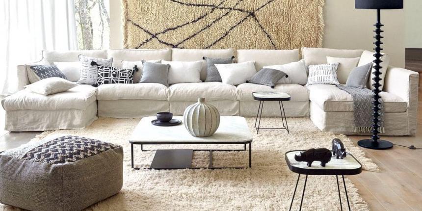 10 id es pour d corer le mur au dessus du canap madame. Black Bedroom Furniture Sets. Home Design Ideas
