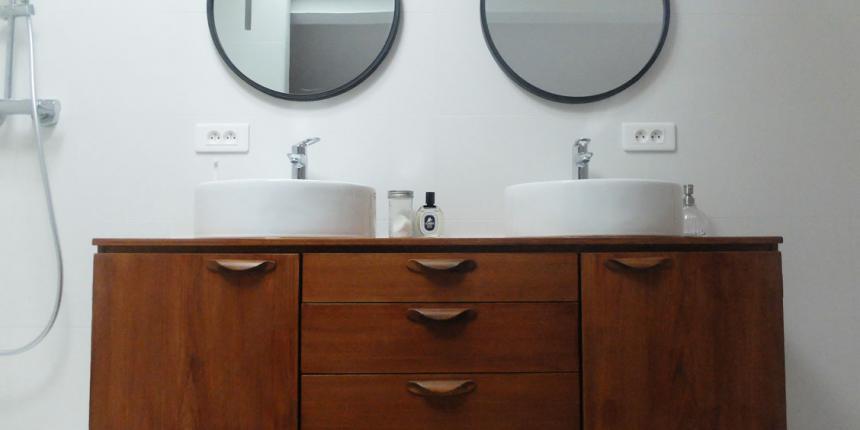 Diy transformer une enfilade en meuble vasque madame - Meuble salle de bain fait maison ...